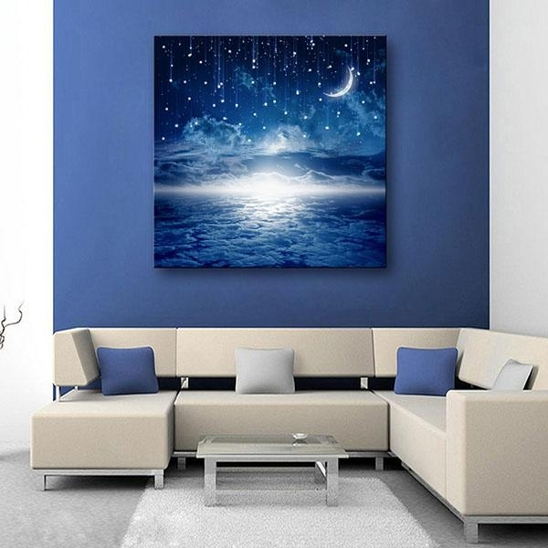 2018 Led Canvas Moon Lighted Wall Art Decoration Canvas Painting Throughout Lighted Wall Art (Image 1 of 10)
