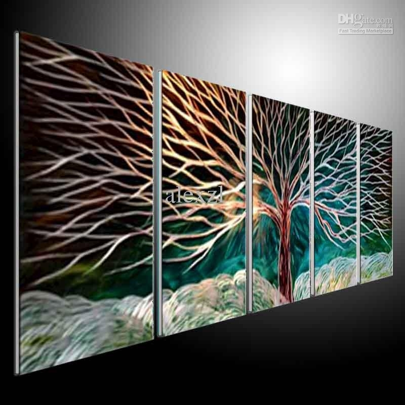 2018 Metal Wall Art Abstract Modern Sculpture Painting Handmade 5 With Regard To Metal Wall Art Panels (Image 1 of 10)