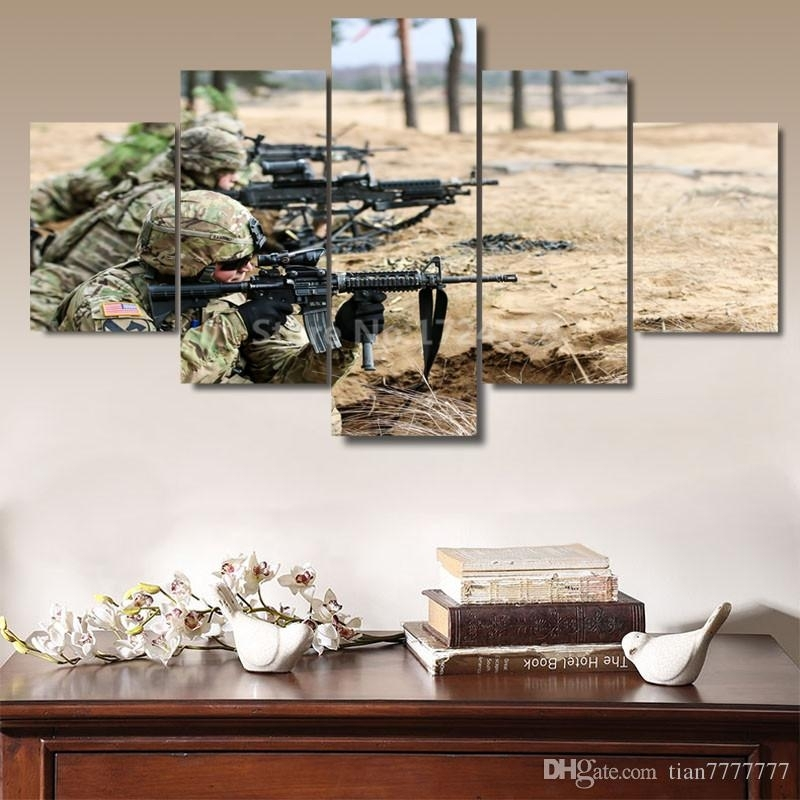 2018 Modern Art Canvas Painting Soldiers Armed With Gun Wall Art With Regard To Modern Framed Wall Art Canvas (Image 2 of 10)