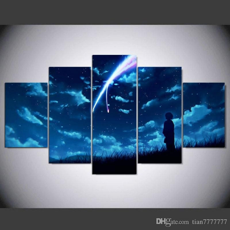2018 New Anime Your Name Canvas Print Painting No Frame Wall Art For 5 Piece Wall Art (View 7 of 10)