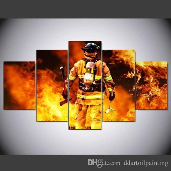 2018 Print Wall Art Canvas Firefighter Painting Modern Home Decor Throughout Firefighter Wall Art (Photo 10 of 10)
