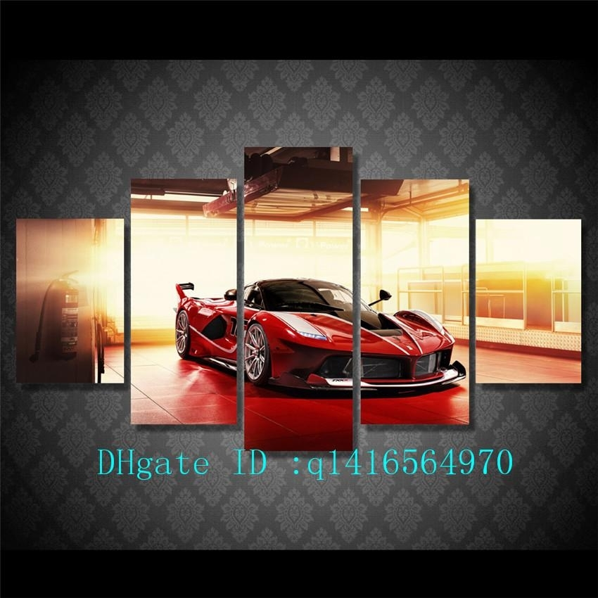 2018 Red Luxury Sports Car,canvas Prints Wall Art Oil Painting Home Pertaining To Car Canvas Wall Art (Photo 8 of 10)