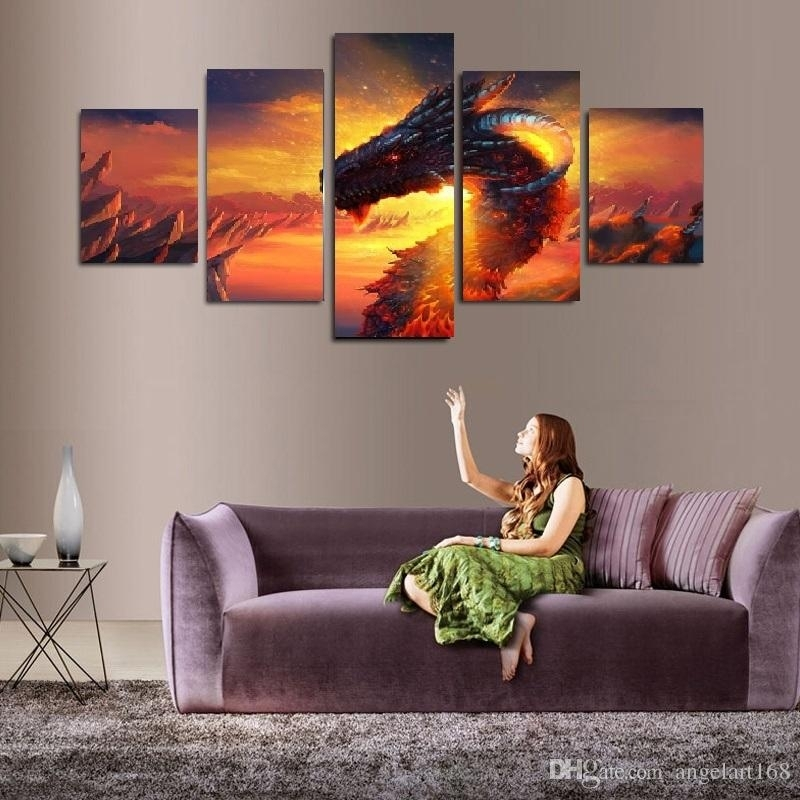 2018 Shiny Dragon Wall Art Oil Painting On Canvas No Frame Animal With Regard To Dragon Wall Art (Image 1 of 10)