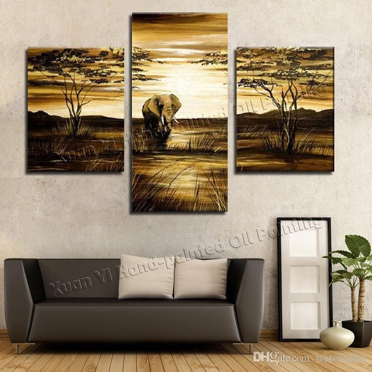 2018 Wall Art Grassland African Elephants Animals Sunrise Home With Regard To 3 Piece Canvas Wall Art (Photo 5 of 10)