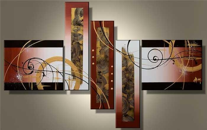 2018 Wall Art Hot Sale Handmade Group Oil Painting On Canvas For Within 5 Piece Wall Art Canvas (Image 1 of 10)