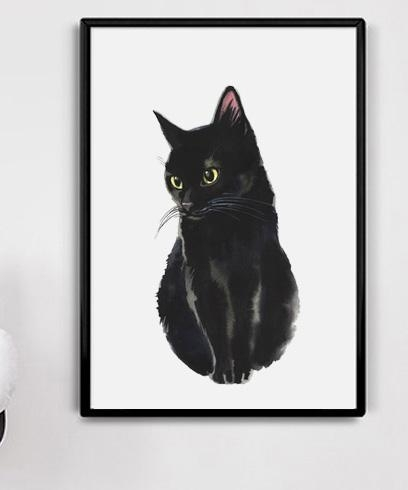 2018 Watercolor Black Cat Canvas Art Print Painting Poster, Wall In Cat Canvas Wall Art (Image 1 of 10)