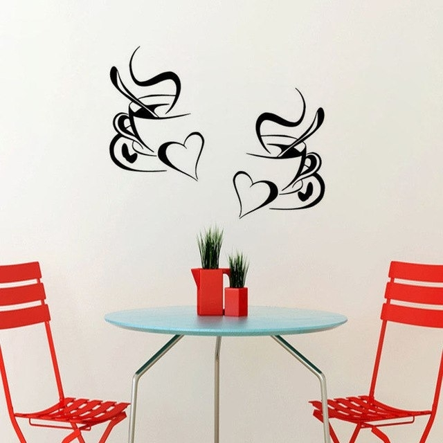 2Pcs Coffee Cup Wall Sticker Home Decor Coffee Wall Art Removable Throughout Coffee Wall Art (Photo 9 of 10)