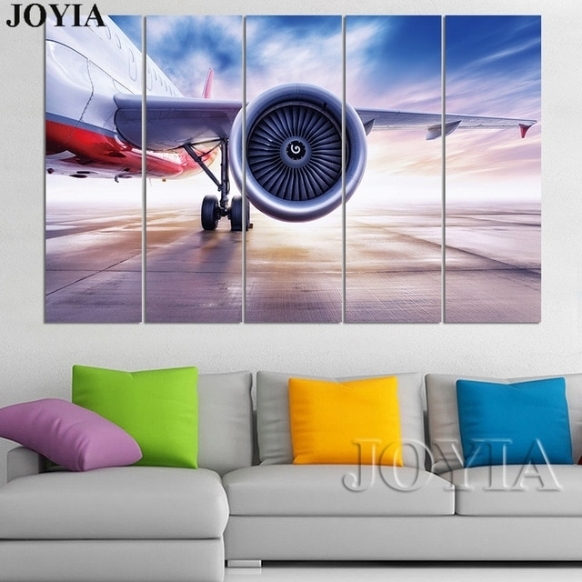 3 4 5 Piece Plane Wall Art Aviation Canvas Art Aircraft Painting Inside Aviation Wall Art (Photo 6 of 10)