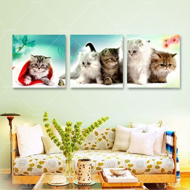 3 Panel Kitty Cat Canvas Painting Cuadros Decoration Animal Wall Art Within Cat Canvas Wall Art (Image 2 of 10)
