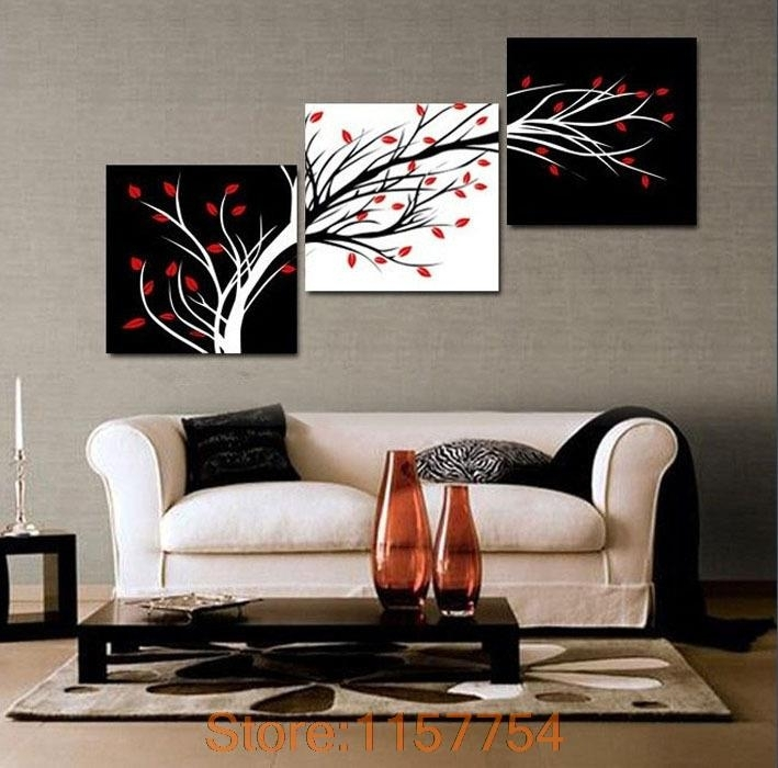 3 Panel Money Tree Modern Wall Art Black And White Decorative Within Modern Wall Art (View 3 of 10)