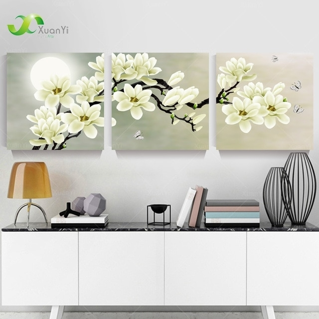 3 Panel Orchid Flowers Wall Art Pictures Wall Flower Canvas Painting Intended For Floral Canvas Wall Art (Image 2 of 10)