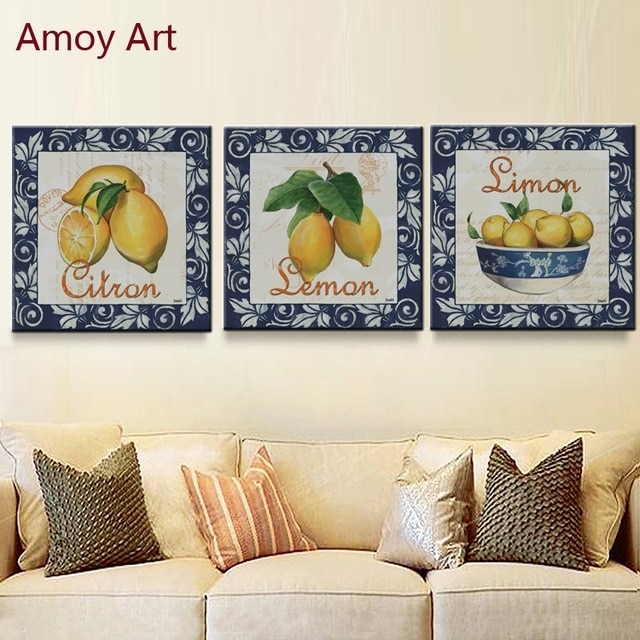 3 Panel Vintage Simon Lemon Home Decor Wall Art Kitchen Picture Intended For Lemon Wall Art (Image 1 of 10)