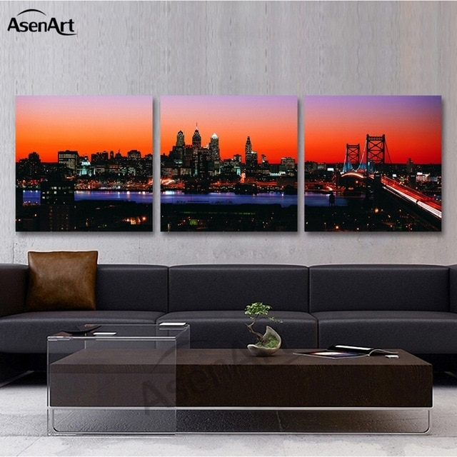 3 Panel Wall Art Canvas Prints Philadelphia Skyline With Franklin Pertaining To Panoramic Wall Art (Image 1 of 10)