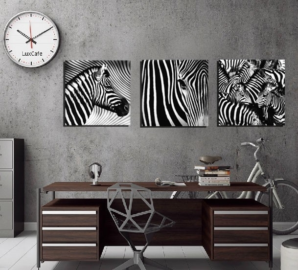 3 Panel Wall Art Decorative Paintings Black And White Zebra Decor Throughout Zebra Canvas Wall Art (Photo 6 of 10)