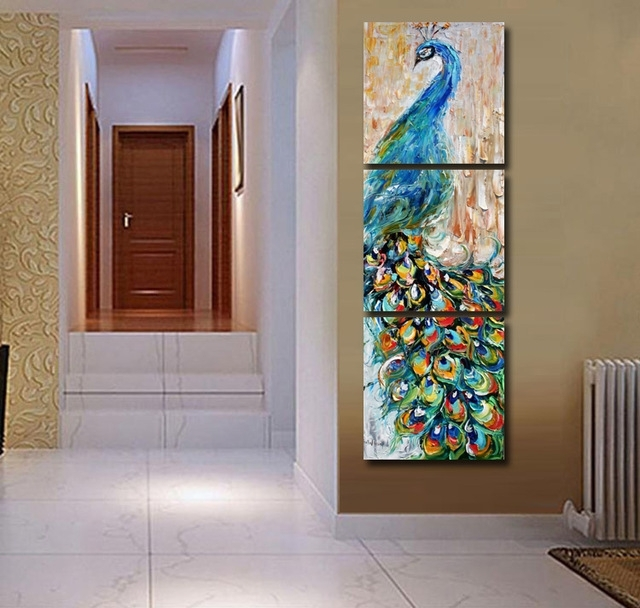 3 Panels Canvas Peacock Painting On Canvas Wall Art Picture Home Pertaining To Tile Canvas Wall Art (Image 1 of 10)