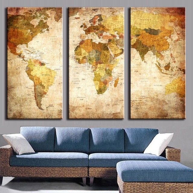 3 Pcs/set Vintage Painting Framed Canvas Wall Art Picture Classic Inside Maps Wall Art (Image 1 of 10)