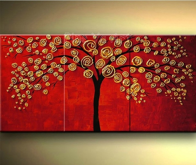 3 Piece Abstract Wall Art Cheap Modern Red Hand Made Tree Flower For Red Wall Art (Image 2 of 10)