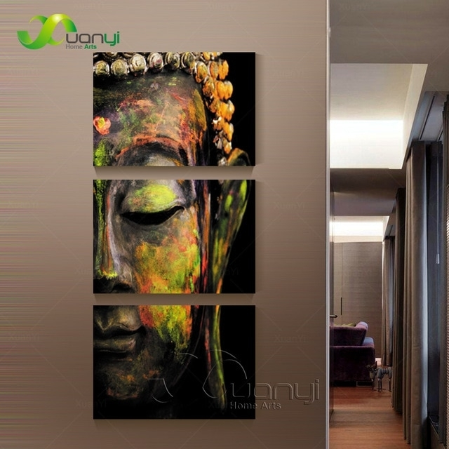 3 Piece Canvas Wall Art Canvas Painting Buddha Canvas Art Oil In Wall Canvas Art (Photo 6 of 10)