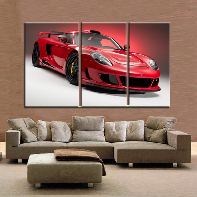 3 Piece Canvas Wall Art Free Shipping Modern Oil Paintings Home With Car Canvas Wall Art (Photo 7 of 10)