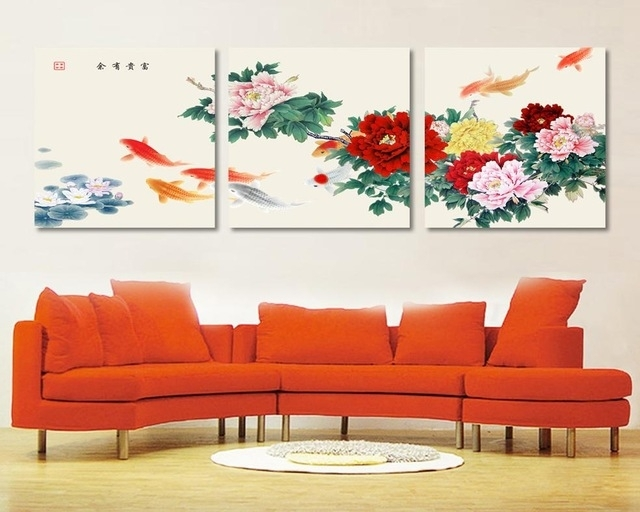 3 Piece Canvas Wall Art Koi Fish Wall Art Paintings For Living Room With Fish Painting Wall Art (Image 4 of 10)