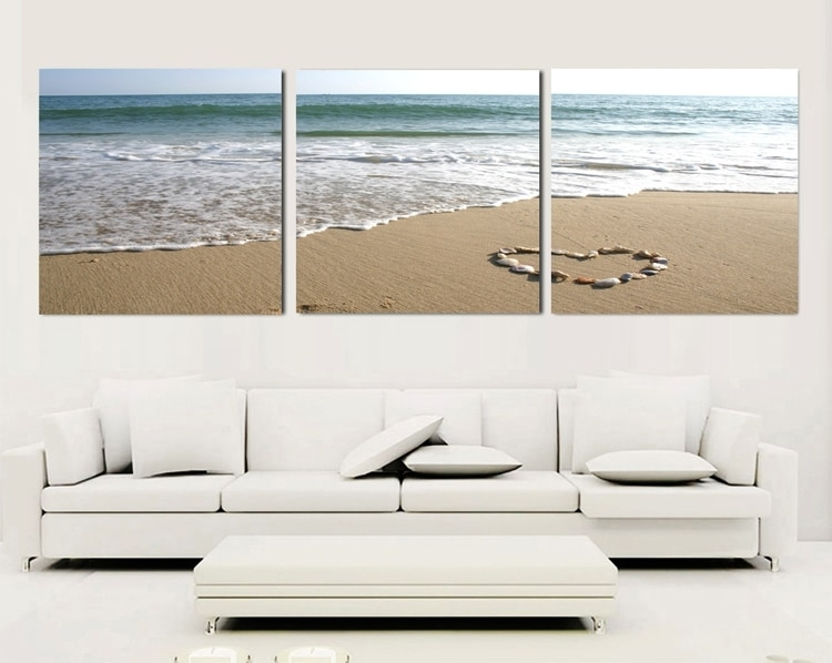3 Piece Canvas Wall Art Sets Beach Painting Heart Stone Oil Within 3 Piece Canvas Wall Art (Photo 7 of 10)