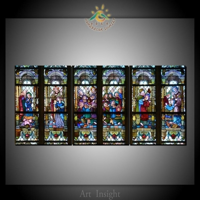 3 Piece Christian Stained Glass Style Flower Glass Canvas Wall Art Intended For Stained Glass Wall Art (Photo 6 of 10)