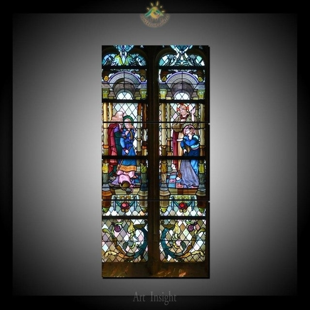 3 Piece Christianity Stained Glass Style 1 Canvas Art Wall Pictures For Stained Glass Wall Art (Image 2 of 10)