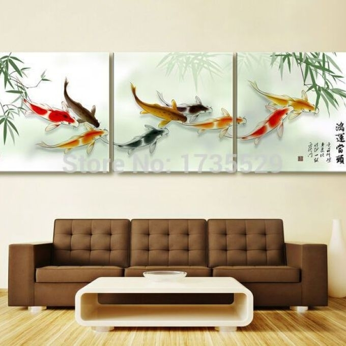 3 Piece Koi Fish Wall Art Chinese Painting Wall Art On, Chinese Wall Throughout Fish Painting Wall Art (Image 5 of 10)