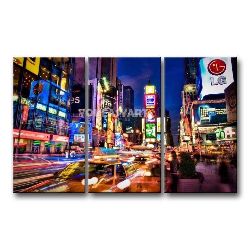 3 Piece Painting On Canvas Wall Art Nyc Street Lights New York Throughout Nyc Wall Art (Image 1 of 10)