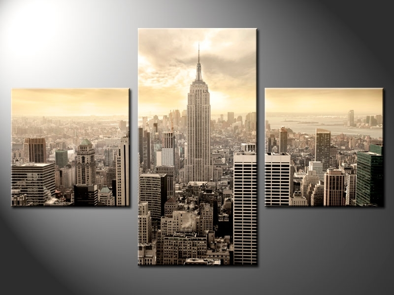3 Piece Split Canvas – Cherry Blossom Regarding New York Canvas Wall Art (Image 2 of 10)