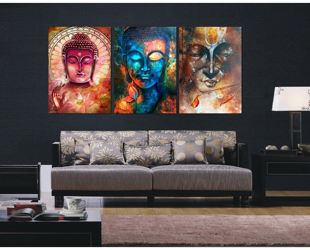 3 Pieces Buddha Image Portrait Art Painting Canvas Wall Art Picture Inside Canvas Wall Art (Image 1 of 10)