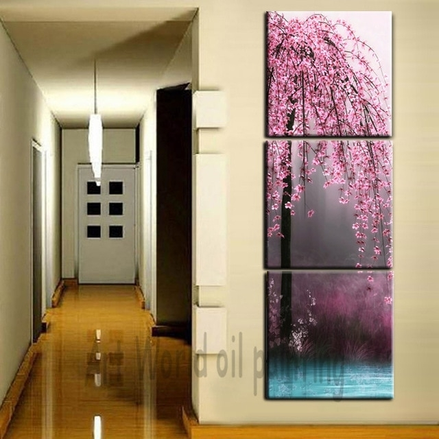3 Pieces Canvas Wall Art Canvas Painting Vertical Peach Tree Intended For Vertical Wall Art (Image 2 of 10)