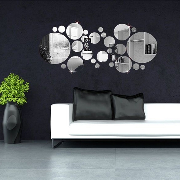 30Pcs 3D Circle Mirror Wall Stickers Acrylic Vinyl Decal Home Art In Mirror Wall Art (View 3 of 10)