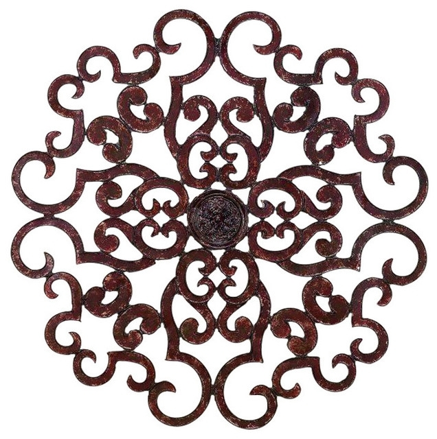 "38"" Large Brown Scroll Wall Medallion, Round Art Metal Iron Swirl Pertaining To Metal Scroll Wall Art (Image 1 of 10)"
