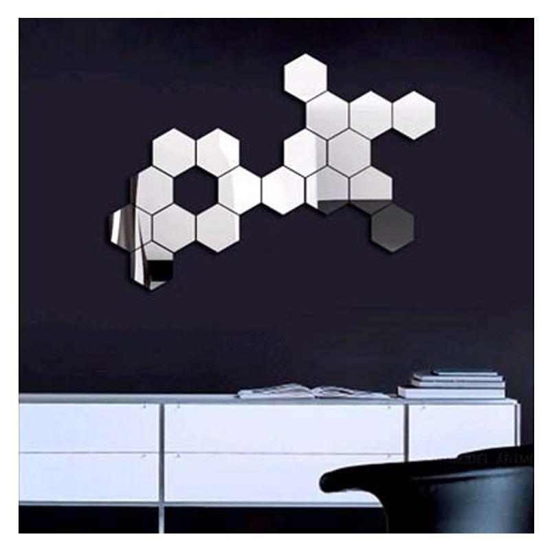 3D Modern Mirror Geometric Hexagon Acrylic Wall Sticker Art Diy Regarding Mirror Wall Art (View 6 of 10)
