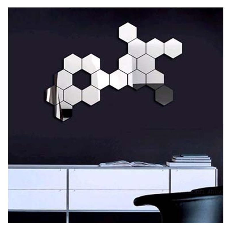 3D Modern Mirror Geometric Hexagon Acrylic Wall Sticker Art Diy With Regard To Mirrored Wall Art (Image 1 of 10)