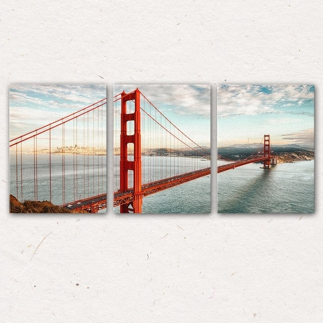 3Pcs/set San Francisco Golden Gate Bridge Wall Art Painting Canvas Regarding San Francisco Wall Art (Image 1 of 10)