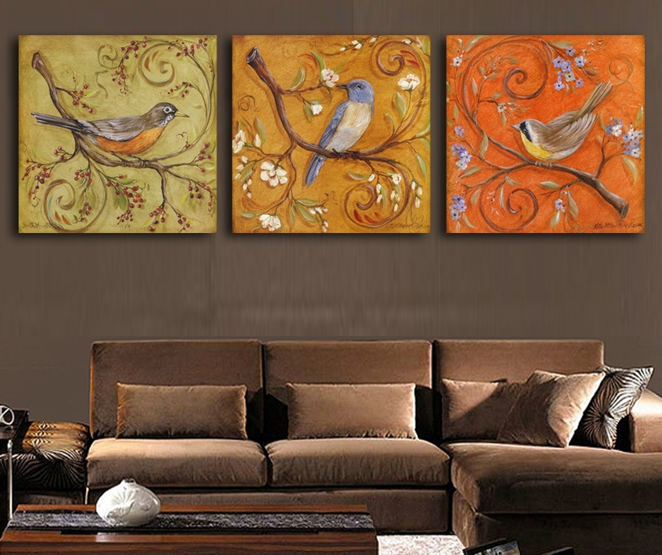 3Piece Abstract Birds Antique Paintings Printed Oil Painting Modern Regarding Bird Framed Canvas Wall Art (Image 3 of 10)