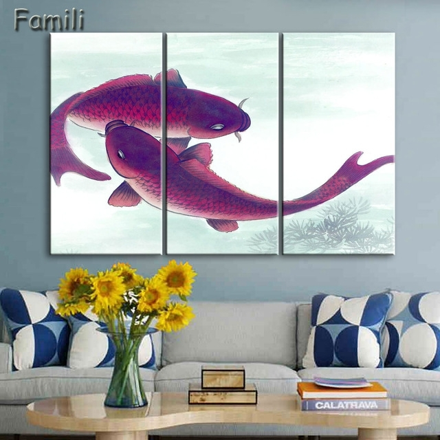 3Piece Koi Fish Wall Art Chinese Painting Wall Art On Canvas Home Intended For Fish Painting Wall Art (Image 6 of 10)