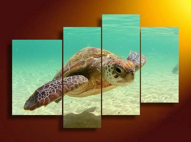 4 Panels Sea Turtle Hd Swim In Sea Bottom Canvas Print Painting For For Sea Turtle Canvas Wall Art (Image 1 of 10)
