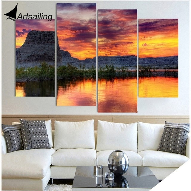 4 Piece Canvas Painting Arizona Lake Rock Hd Printed Canvas Art Intended For Arizona Wall Art (View 10 of 10)