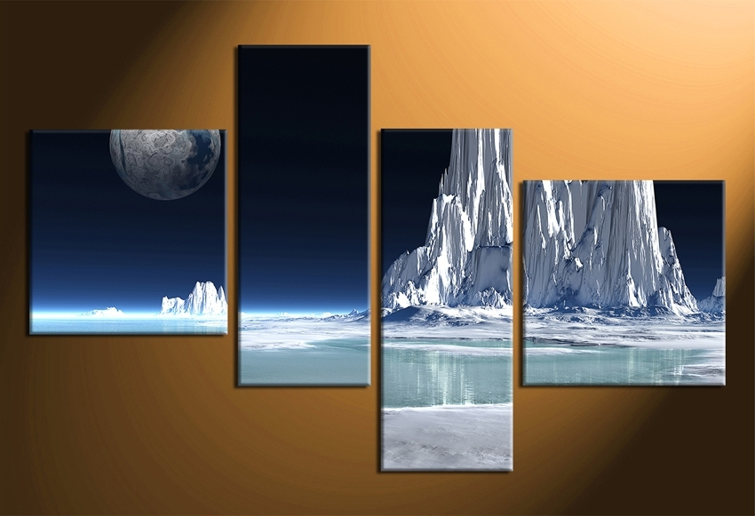 4 Piece Canvas Wall Decor, Snowy Mountain Multi Panel Art – Super Tech Regarding Multi Panel Wall Art (Image 1 of 10)