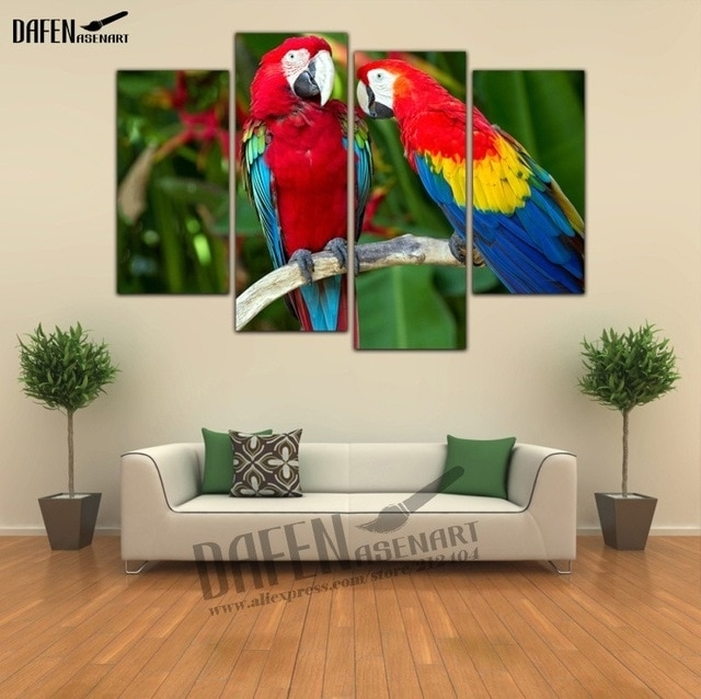4 Pieces Modern Wall Art Framed Canvas Prints Couple Parrot Pertaining To Bird Framed Canvas Wall Art (Image 4 of 10)