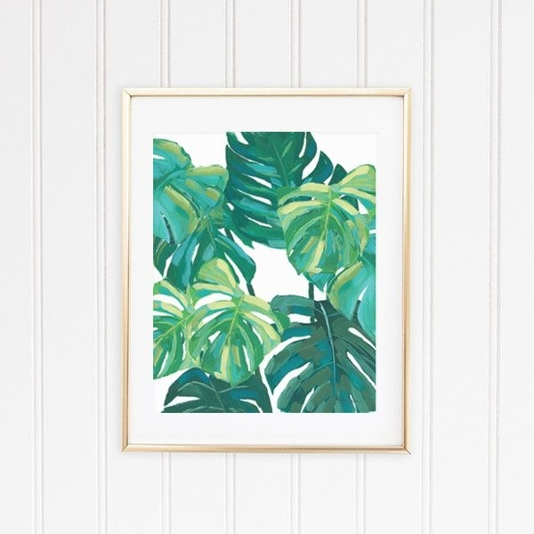 4 Tropical Wall Art Leaf Prints – Banana, Palm, Monstera, And Fern For Tropical Wall Art (Image 1 of 10)