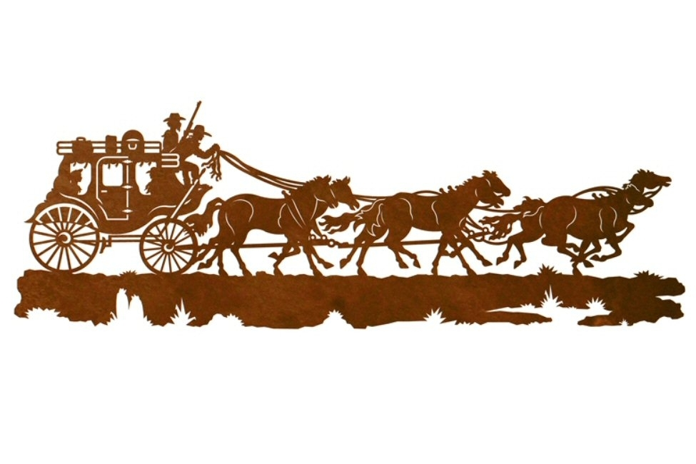 """42"""" Stagecoach With Horses Metal Wall Art – Western Wall Decor Inside Western Wall Art (Image 1 of 10)"""