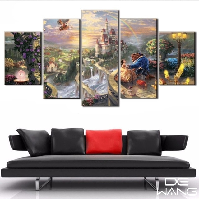 5 Panel Canvas Art Unframed Wall Art Picture Fairy Tale Beauty And Regarding Panel Wall Art (Image 3 of 10)