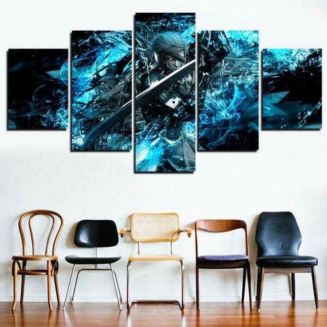 5 Panel Canvas Painting Pictures Metal Gear Solid Home Decor For For 5 Panel Wall Art (Image 3 of 10)