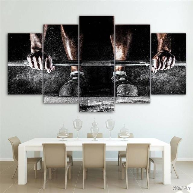 5 Panel Canvas Wall Art | Weight Training | Panelwallart With Canvas Wall Art (Image 2 of 10)