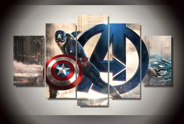 5 Panel Hd Printed Oil Painting Captain America Movie Poster Canvas Within Captain America Wall Art (Image 1 of 10)