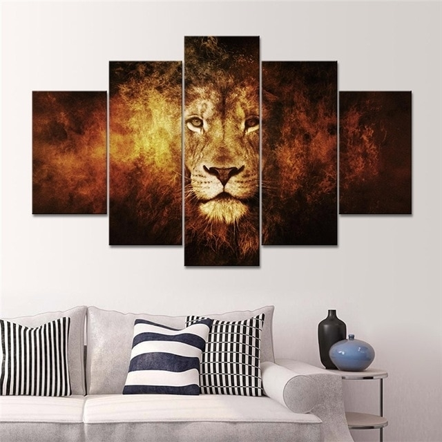 5 Panel Lion Art Canvas Wall Hanging Art Lion King Picture Landscape Regarding 5 Panel Wall Art (Image 4 of 10)